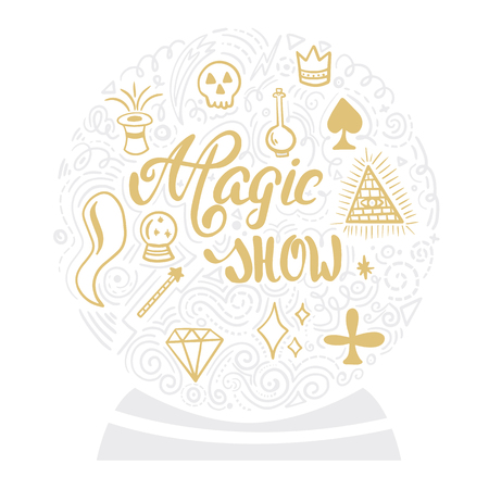 Vector hand lettering. Elegant inscription Magic show.