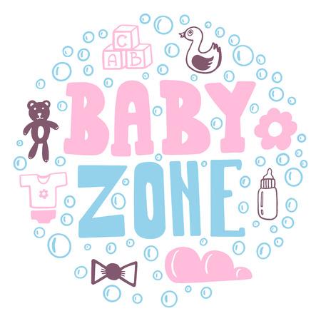Les dessins Doodle de la zone bébé sont un ensemble d'objets pour bébé. Vecteurs