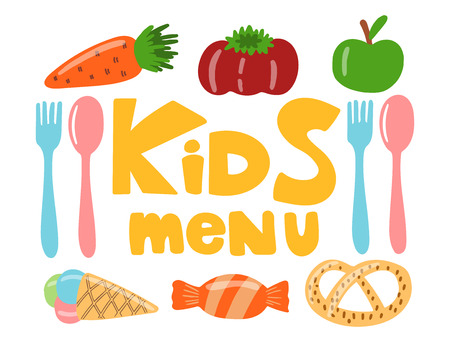 Kids menu. Bright signboard with vegetables, fruits and sweets Ilustrace