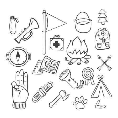 Scoutisme Les dessins Doodle sont un ensemble d'objets pour le scoutisme.