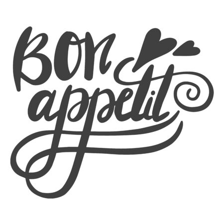 Bon appetit. The phrase in French for the design of advertising booklets and menus. Hand lettering brush and ink 向量圖像