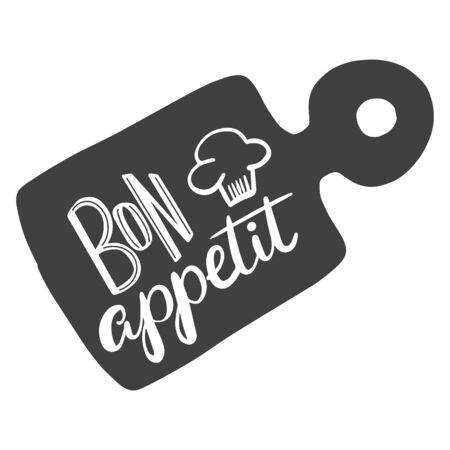 Bon appetit. The inscription on the cutting board. The phrase in French for the design of advertising booklets and menus. Hand lettering brush and ink. 向量圖像