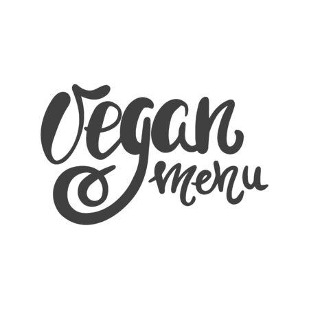 Vegan menu. Hand lettering brush and ink for a market or grocery store of vegetarian food. Illustration