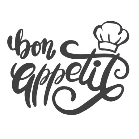 Bon appetit. The phrase in French for the design of advertising booklets and menus. Hand lettering brush and ink Illustration
