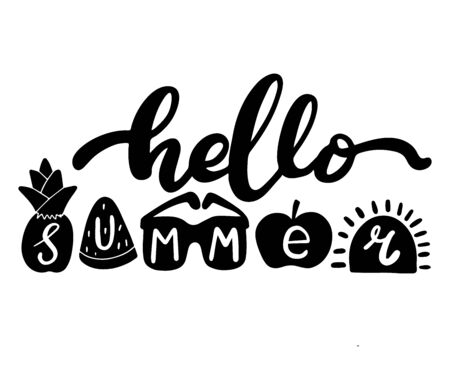 Hello summer. Brush phrase with fruit figures. Hand lettering