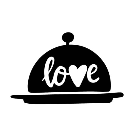 Hand lettering Love on a dish for food