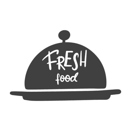 Fresh food. Hand lettering on a dish for food