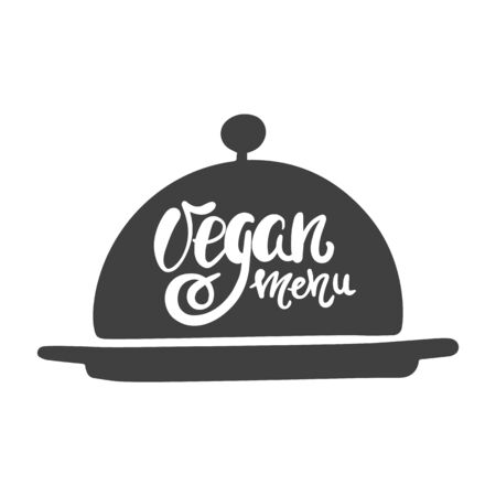 Vegan menu. Hand lettering on a dish for food