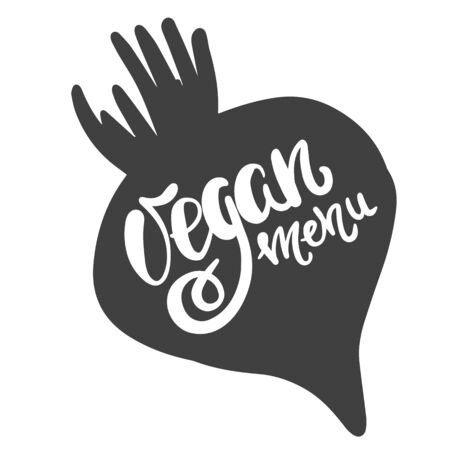 Vegan menu. Handwritten brush and ink lettering for a market or grocery store of vegetarian food on a beetroot background