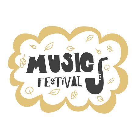 Music Festival. Hand lettering black and white composition for an advertising poster on a white background.