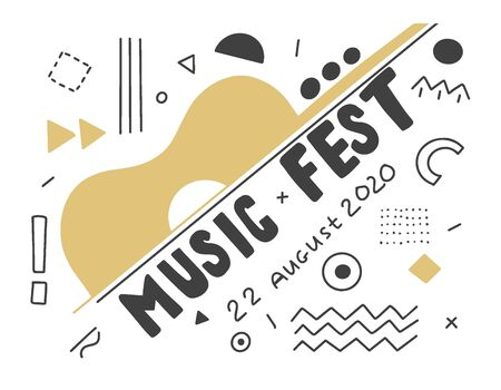 Music Festival. Hand lettering black and white composition for an advertising poster on a white background
