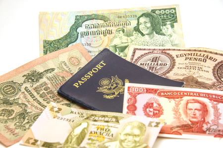 US passport and foreign currency