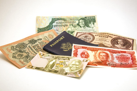 foreign currency: US passport and foreign currency