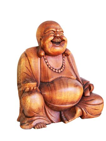 happy smiling buddha, carven wooden figurine isolated over white
