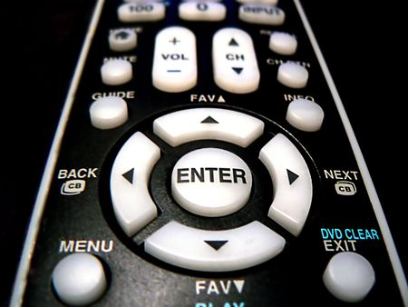 Remote control for home electronic devices, close-up