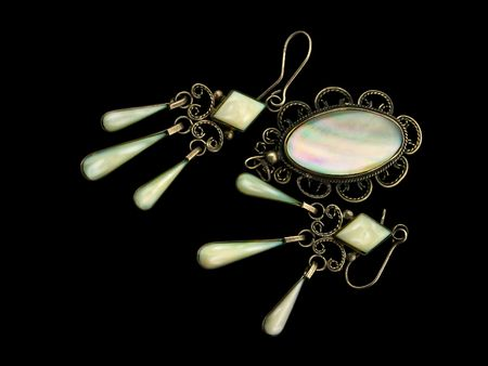Mother of pearl earrings and pendant in silver on a black background