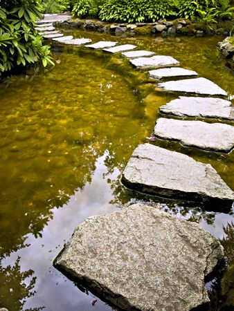 Stepping stones over the pond Stock Photo - 1558436