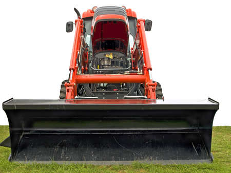 agronomics: Red and black tractor on a grass field,  white background