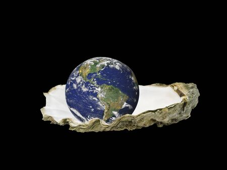 calcite: Earth sitting in an oyster shell, isolated over black Stock Photo