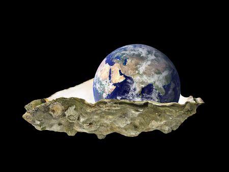 黒の上東半球、貝で座っている地球