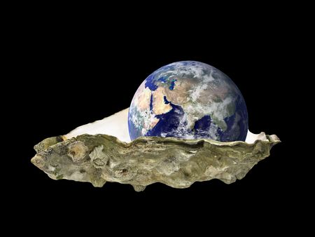 Earth sitting in an oyster shell, East hemisphere, over black