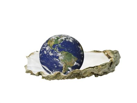 Earth sitting in an oyster shell, isolated over white Stockfoto