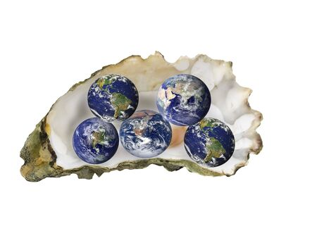 Multiple globes sitting in an oyster shell, symbolizing global success or connection, over white