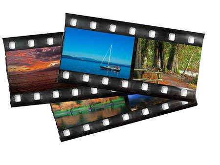 Snippets of filmstrip with colorful landscape images, ober white