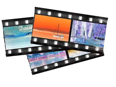 Snippets of filmstrip with color negative landscape images, over white