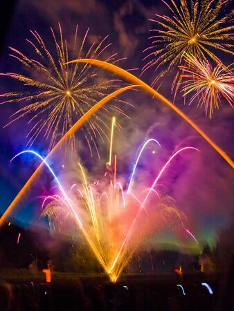 Fireworks display with multiple bursts