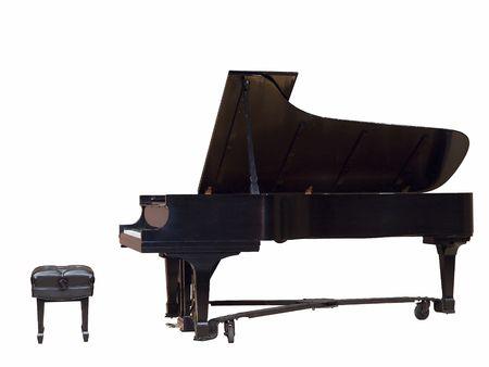Grand piano en bank geïsoleerd over white Stockfoto