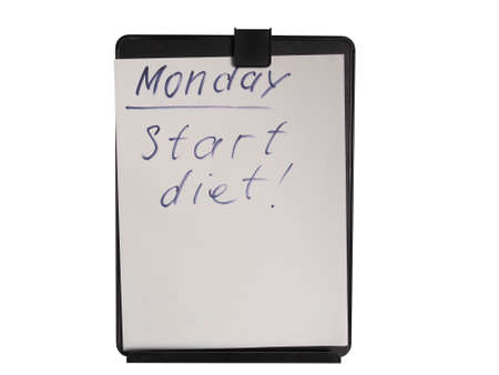reminding: Handwritten nore reminding to start dieting on Monday