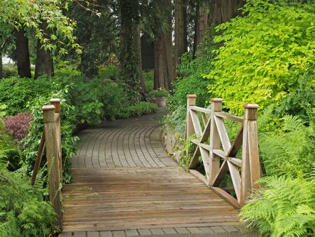 Wooden bridge in the paved garden pathway
