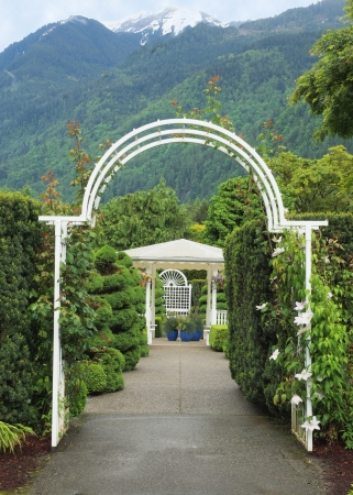 Arc passage in a garden in the mountain setting