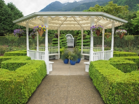 Outdoor wedding gazebo in the garden in the mountain setting