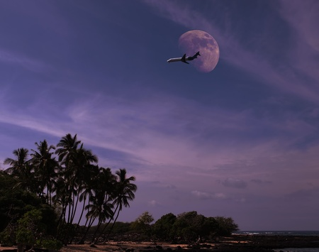 Plane coming for landing over tropical island in the night