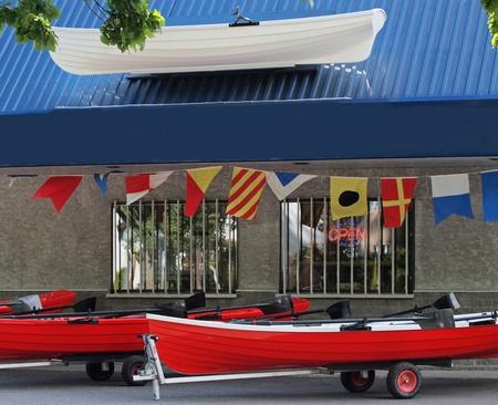 ボートのサンプルとボート レンタル店の前