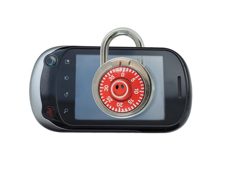 security icon: A lock on the smart phone with smile icon symbolizing security measures