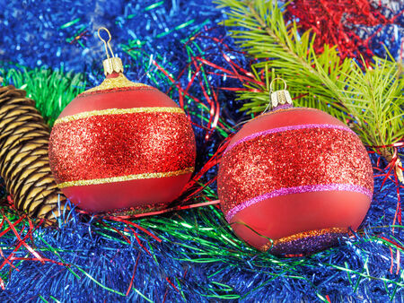 fir twig: Festive colorful Christmas decorations with cone and fir twig