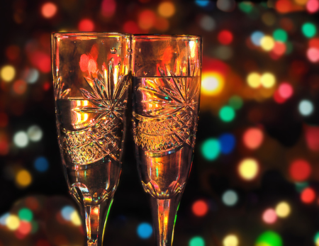 Two glasses with champagne against festive Christmas background Banco de Imagens - 31568714