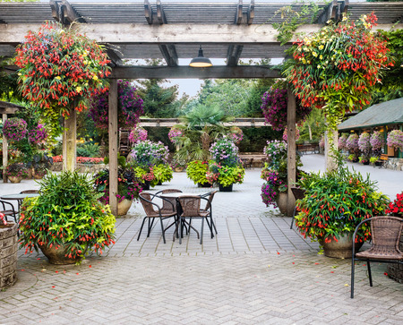 Table with chairs under pergola decorated with flower pots and hanging baskets