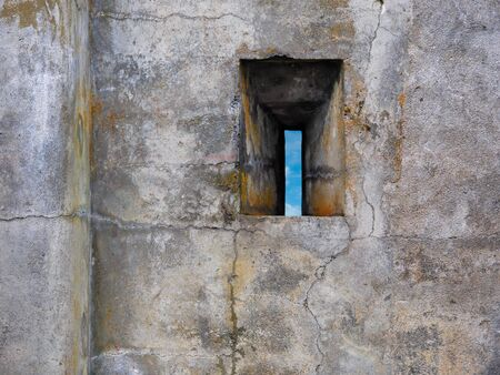 slit: Rifle slit in the ancient fort stone wall Stock Photo