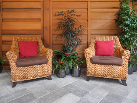 sitting area: Indoor sitting area with wicker chairs