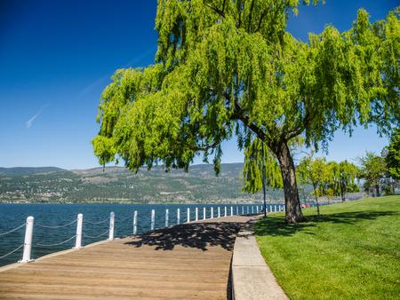 ケローナ、bc 州オカナガン湖のウォーター フロントに沿って遊歩道します。