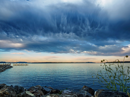 Viewr from Sidney, Vancouver Island, Canada, stormy clouds forming