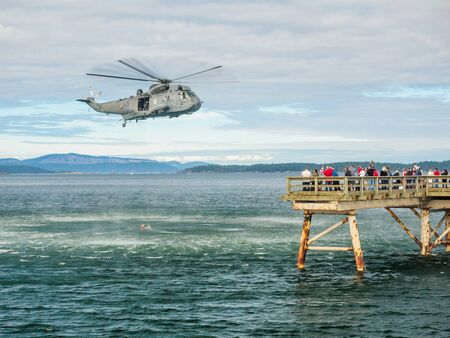 lifeline: Helocopter crew performing water rescue training