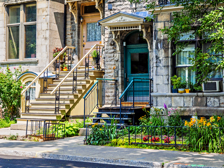 Typical Montreal neighborhood street with staircases 写真素材