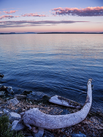 Sunset on the rocky beach in Sidney, Vancouver Island, British Columbia, Canada