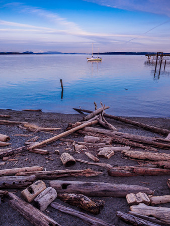 Sunset view at the shore in Sidney, Vancouver Island, British Columbia, Canada