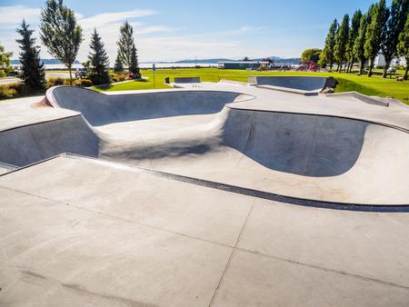 Skateboarding park at the ocean shore